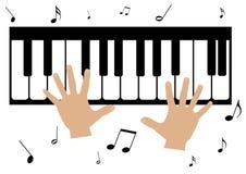 twee handen, een piano en muzieknota's royalty-vrije illustratie