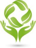 Twee handen en bladeren, installatie, naturopath en wellnessembleem vector illustratie