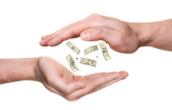 Twee handen en geldconcept Royalty-vrije Stock Afbeeldingen