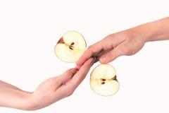 Twee handen en twee delen van appel Royalty-vrije Stock Fotografie