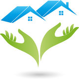 Twee handen en twee huizen, daken, onroerende goederenembleem Royalty-vrije Stock Afbeeldingen