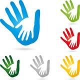 Twee handen, handenkleur, vector stock illustratie
