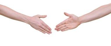 Twee handen klaar voor het schudden Stock Afbeeldingen
