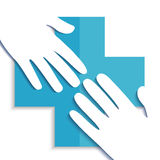 Twee Handen met blauw kruis Royalty-vrije Stock Foto