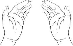 Twee handen met open palmen stock illustratie