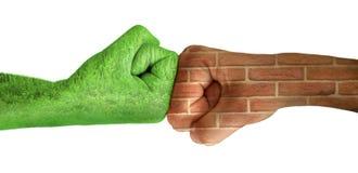 Twee handen tegen elkaar. Ecologie Royalty-vrije Stock Afbeelding