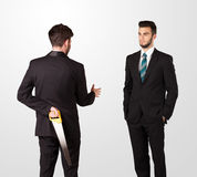 Twee handen van de zakenmanschok Stock Fotografie