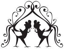 Twee hanen op een witte achtergrond Royalty-vrije Stock Foto