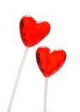 Twee hart gevormde lollys voor Valentijnskaart Stock Foto