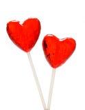 Twee hart gevormde lollys voor Valentijnskaart Royalty-vrije Stock Foto