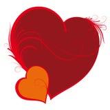Twee harten, de dag van de valentijnskaart vector illustratie