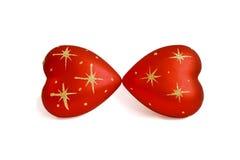 Twee harten die, met sterren kussen, die op wit worden geïsoleerdt Royalty-vrije Stock Foto