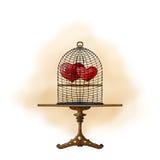Twee harten in een kooi Royalty-vrije Stock Fotografie