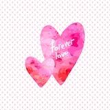Twee harten Elementen voor Valentine-prentbriefkaar royalty-vrije illustratie