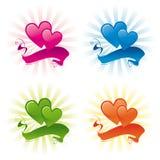 Twee harten en banner Stock Fotografie