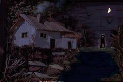 Twee harten en een hut Stock Afbeelding