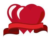 Twee harten en een rood lint Royalty-vrije Stock Foto's