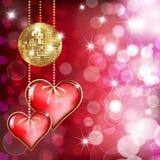 Twee harten en gouden discobal Stock Fotografie