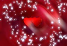 Twee harten en sneeuwvlokken Stock Afbeelding