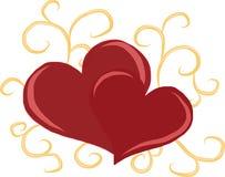 Twee harten met overladen elementen Royalty-vrije Stock Foto
