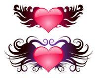 Twee harten met vleugels Stock Afbeelding