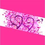 Twee harten op een roze achtergrond Stock Foto