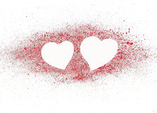 Twee harten op het rood. Stock Fotografie
