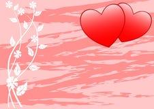 Twee harten op takken Stock Afbeelding