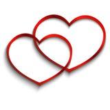 Twee harten op witte achtergrond stock foto's