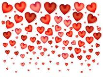 Twee Harten Valentijnskaartenachtergrond op wit Vector illustratie Stock Afbeelding