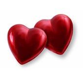 Twee harten van de Valentijnskaart Stock Foto's