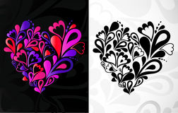 Twee harten. Vector achtergrond Stock Foto's