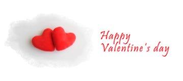 Twee harten voor de dag van de valentijnskaart, het symbool van de liefde Stock Foto's