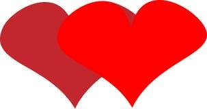 Twee harten voor van het de Dagontwerp van Valentine ` s de gelukwensembleem Royalty-vrije Stock Afbeelding