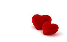 Twee hartvormen op witte achtergrond Stock Foto's