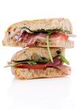 Twee heerlijke sandwiches Royalty-vrije Stock Foto's