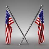 Twee het Amerikaanse vlaggen hangen Stock Afbeelding