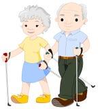Twee het bejaarde mensen noordse lopen Stock Afbeeldingen