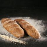 Twee het gehele eigengemaakte brood van het roggebrood, exemplaarruimte Royalty-vrije Stock Foto's