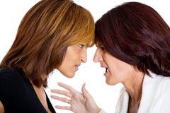 Twee het gekke boze vrouwen debatteren Stock Foto