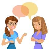 Twee het jonge vrouwen spreken Vergaderingscollega's of vrienden Vector vector illustratie