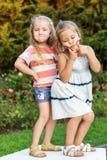 Twee het kleine grappige grappige meisjes stellen Stock Foto