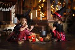 Twee het kleine Halloween-heksen tovert lezen boven pot childh royalty-vrije stock afbeelding