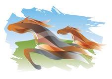 Twee het lopen paarden Royalty-vrije Stock Foto's