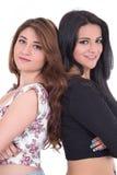 Twee het mooie jonge meisjes stellen Stock Foto