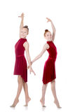Twee het mooie meisjes dansen royalty-vrije stock afbeelding