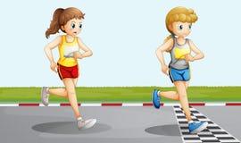 Twee het mooie meisjes rennen Royalty-vrije Stock Afbeelding