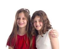 Twee het Mooie Zusters geïsoleerd koesteren Stock Afbeelding