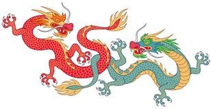 Twee het vechten draken vector illustratie
