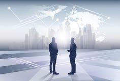 Twee het Zakenluipersoneel van het Bedrijfsmensensilhouet over het Concept van de de Reisvlucht van de Wereldkaart stock illustratie